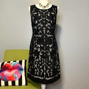 Kate Spade Black White Lace Overlay Sheath Dress